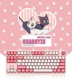Anime Sailor Moon Keyboards Pink Cute Kawaii Keyboards 87Key