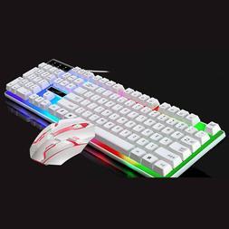 Colorful Mouse Gaming Keyboard LED Illuminated Backlit USB W