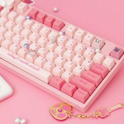 Handmade Sailor Moon Anime Cherry MX Keyboards Pink Cute Kaw