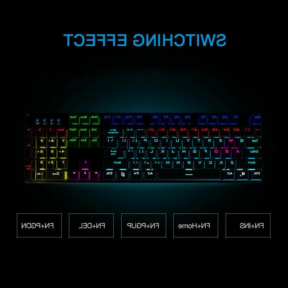 gk100 mechanical gaming keyboard backlight blue red