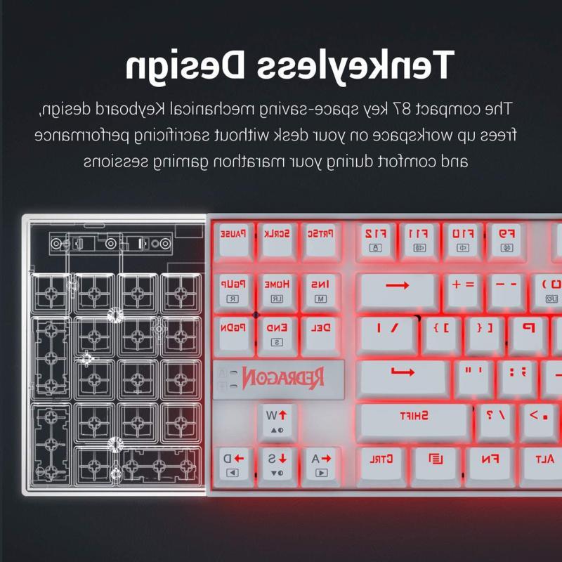 Redragon K552 Keyboard Compact 87 Key Kumara Wired Cherry