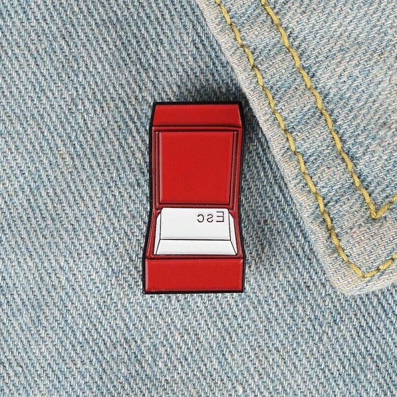keyboard esc enamel pin ringbox brooches bag