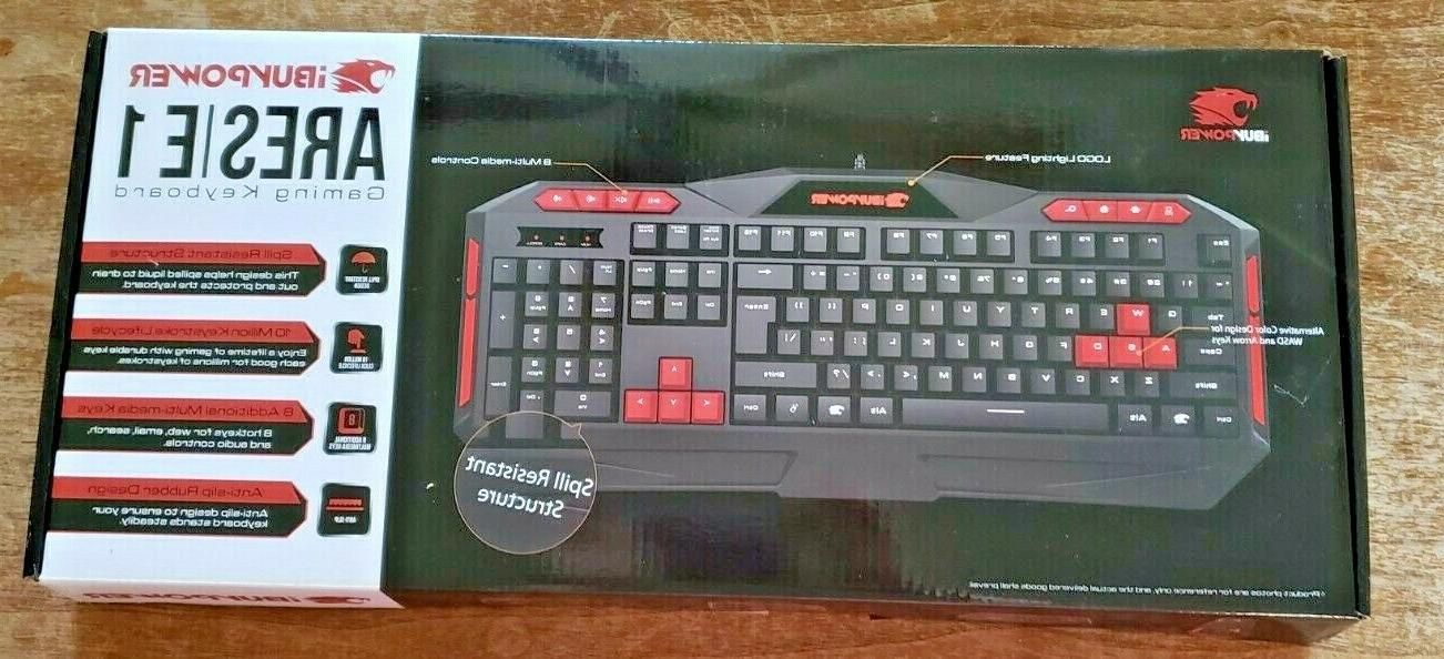 new ares e1 gaming spill resistant keyboard