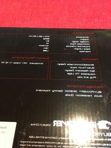 NEW iBUYPOWER GKB100 Gaming Keyboard Gamdias Black Red