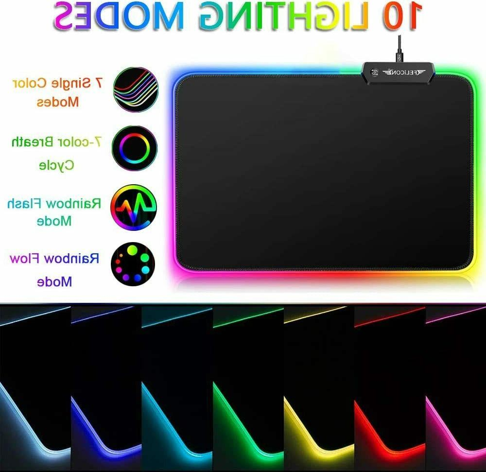 Rechargeable Rainbow LED Gaming Keyboard Headset and RGB Mouse Pad