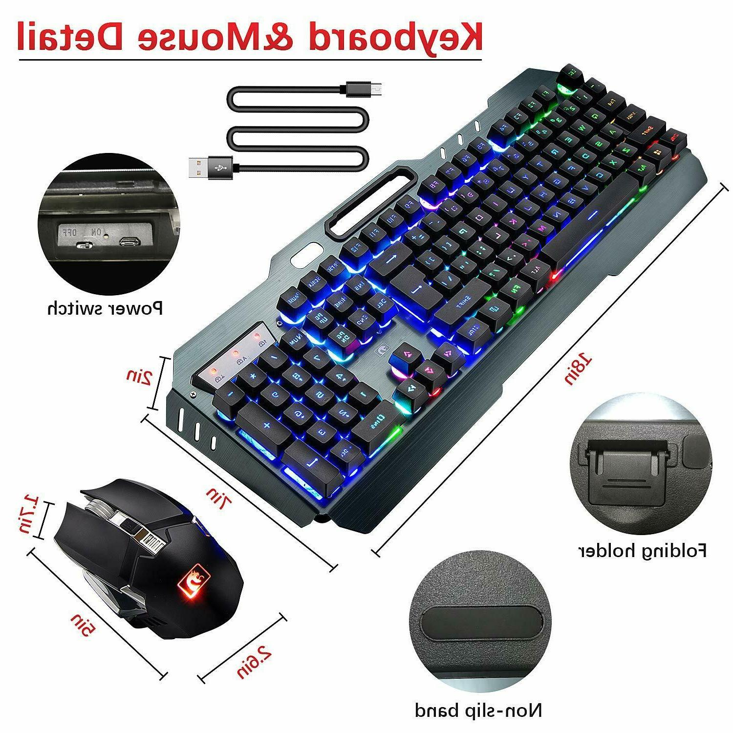Rechargeable LED Gaming Keyboard and RGB Pad