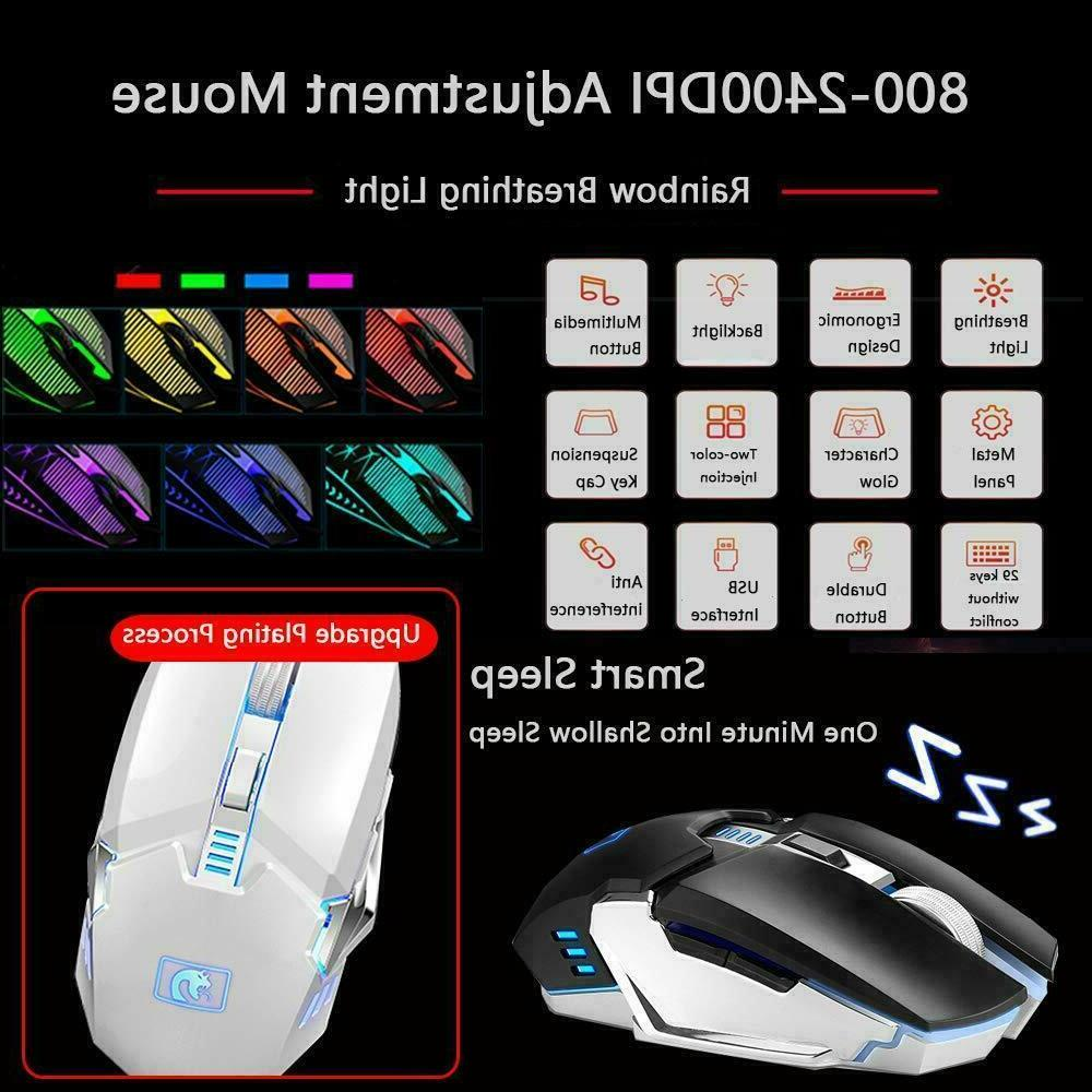 Rechargeable Rainbow Gaming Keyboard Mouse Headset and RGB Mouse