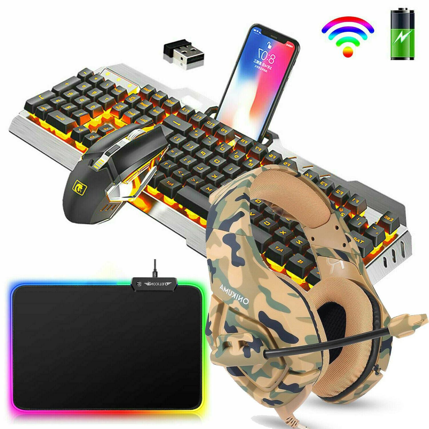 rechargeable rainbow led backlit gaming keyboard mouse