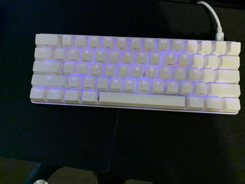 white pok3r 60 percent keyboard with cherry