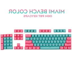 Miami Key Caps Set Pink blue Double Shot  PBT Keycaps For Ch