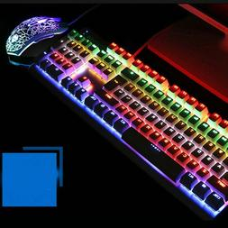 Multiple Color Rainbow LED Backlit Wired Gaming Keyboard and