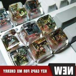 For MX Cherry Keyboard keycap Artwork Bismuth crystal Clear