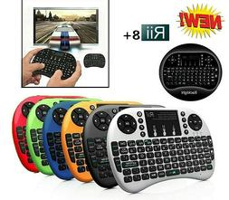 New Rii i8+ mini Backlit Wireless Keyboard+Touchpad Mouse 2.