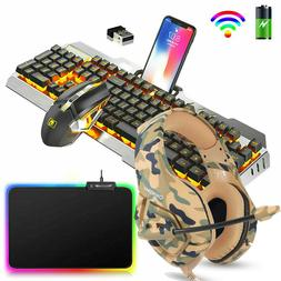 Rechargeable Rainbow LED Backlit Gaming Keyboard Mouse Heads