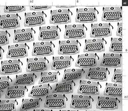 Typewriter Keyboard Hearts Fabric Printed by Spoonflower BTY