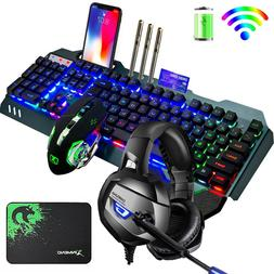 US Rechargeable Wireless LED Backlit Gaming Keyboard Mouse M