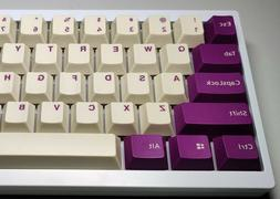 Violet and Cream PBT Double Shot Cherry Profile Keycaps for