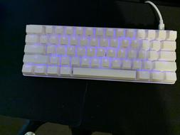 White Vortex Pok3r 60% Keyboard With Cherry Mx Silver Switch